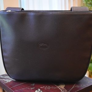 Vintage Longchamp Chocolate Leather Tote Bag